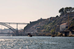 Typical cruise boats sailing on Douro river Stock Image