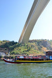 Typical cruise boats sailing on Douro river Stock Photography