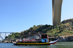 Typical cruise boats sailing on Douro river Stock Photo