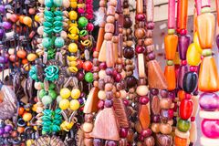 Typical Cuban souvenir: seed necklace. Popular in Cuban accounts Royalty Free Stock Image