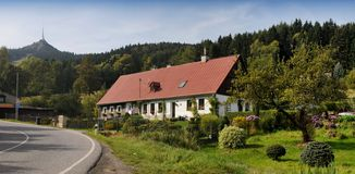 Typical Czech cottage  in Jizera Mountains Stock Photography