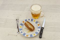Typical Czech specialty sausage with vinegar Royalty Free Stock Photos