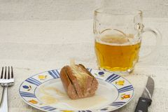 Typical Czech specialty sausage with vinegar Royalty Free Stock Photography