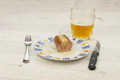 Typical Czech specialty sausage with vinegar Royalty Free Stock Image