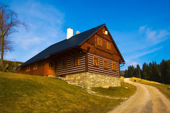 Typical czech wooden mountain cottage Stock Image