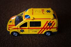 Czech yellow Ambulance with lighthouse royalty free stock photo