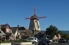 Typical Danish Mill In Solvang: A Picturesque Village Founded By Danes With Their Typical Contructions Of The Historic Denmark. stock photography