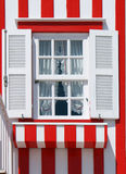 Typical decorated window in Costa Nova royalty free stock image