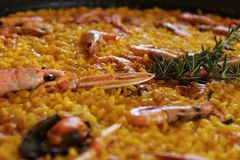 Typical and delicious spanish paella Royalty Free Stock Images