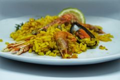 Typical and delicious spanish paella Royalty Free Stock Image