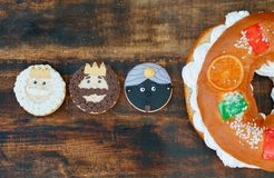 Spanish Christmas cake with three cookies of the Three Wise Men. Typical dessert eaten in Spain to celebrate Epiphany with three cookies of the Three Wise Men Royalty Free Stock Photography