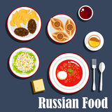 Typical dinner of russian cuisine flat icon Royalty Free Stock Photos