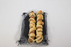 Typical dish of halloween sausages mummy royalty free stock images