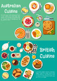 Typical dishes of british and australian cuisine Royalty Free Stock Photo
