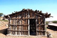 Typical Djiboutian huts in a village in northern Djibouti, Day Forest National Park  Forêt du Day in Horn of Africa. Djiboutian Village huts made up of wooden Stock Photos