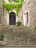 Typical door in Besalu, Spain. Catalogna above the stairs stock images