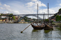 Typical Douro River Boats Royalty Free Stock Photography