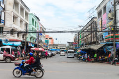 Typical downtown street in central Krabi Town Royalty Free Stock Photos