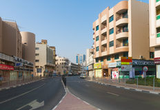 Typical downtown street in old city center of Dubai, United Arab Royalty Free Stock Image