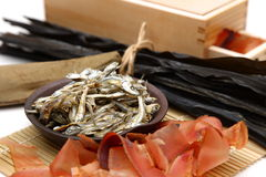 Typical dried foods for Japanese soup stock Royalty Free Stock Photo