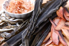 Typical dried foods for Japanese soup stock Stock Photography