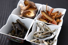 Typical dried foods for Japanese soup stock Royalty Free Stock Image