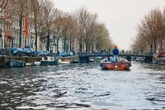 Typical dutch architecture, canals, bridges and boats in Amsterdam, Holland, Netherlands stock image