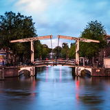 Typical Dutch bascule Bridge in Amsterdam Stock Image