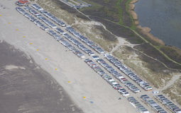 Typical Dutch beachhouses at beach from above Royalty Free Stock Photography