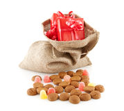 Typical Dutch celebration: Sinterklaas with surprises in bag and Royalty Free Stock Images