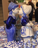 Typical dutch delft blue ceramic in souvenir shop royalty free stock photography