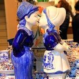 Typical dutch delft blue ceramic in souvenir shop Stock Image