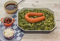 Typical dutch dish boerenkool with smoked sausage Stock Image