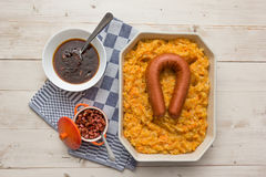 Typical dutch dish hutspot with carrot and onion Royalty Free Stock Images