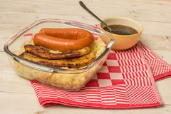 Typical dutch dish zuurkool with pork belly and smoked sausage Royalty Free Stock Photography