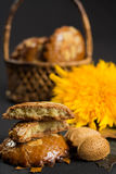 Typical Dutch filled spicy  cookies with almonds on autumn color Royalty Free Stock Photography