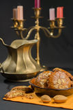 Typical Dutch filled spicy  cookies with almonds on autumn color Royalty Free Stock Photo