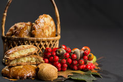 Typical Dutch filled spicy  cookies with almonds on autumn color Royalty Free Stock Image