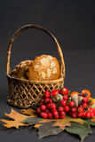 Typical Dutch filled spicy  cookies with almonds on autumn color Royalty Free Stock Photos