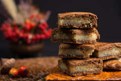 Typical Dutch filled spicy  cookies with almonds on autumn color Stock Images