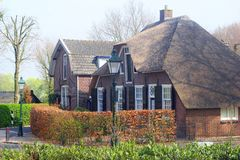 Ancient houses with thatched roofs, Netherlands Royalty Free Stock Images