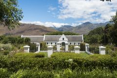 Cape Dutch Architecture, winery, South Africa stock photo