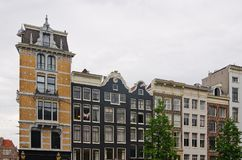 Typical Dutch Houses in Amsterdam. Series of canal houses in Amsterdam, The Netherlands Stock Photos