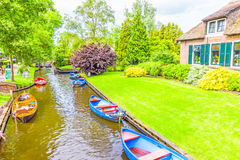 Typical Dutch houses and gardens in Giethoorn Royalty Free Stock Image