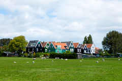 Typical Dutch houses in Marken Stock Photos