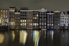 Typical Dutch Houses At Night, Amsterdam, Netherlands stock images