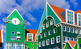 Typical dutch houses in Zaandam. Traditional green, wooden houses in the city of Zaandam in the Netherlands, near the capital of Amsterdam. The picture was taken stock photos