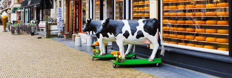 Typical dutch image of cow and cheese for sale Royalty Free Stock Photos