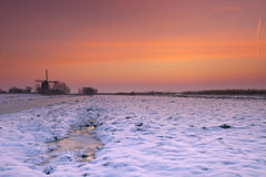 Typical Dutch landscape in winter at sunrise Royalty Free Stock Image
