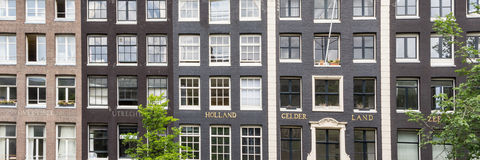 Typical dutch mansion houses panorama Royalty Free Stock Photography